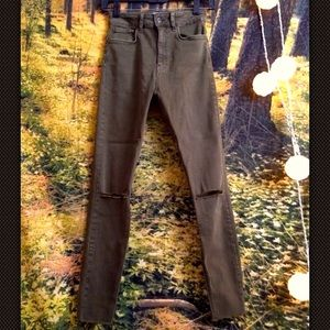 Zara NWOT premium denim skinny jeans olive 4